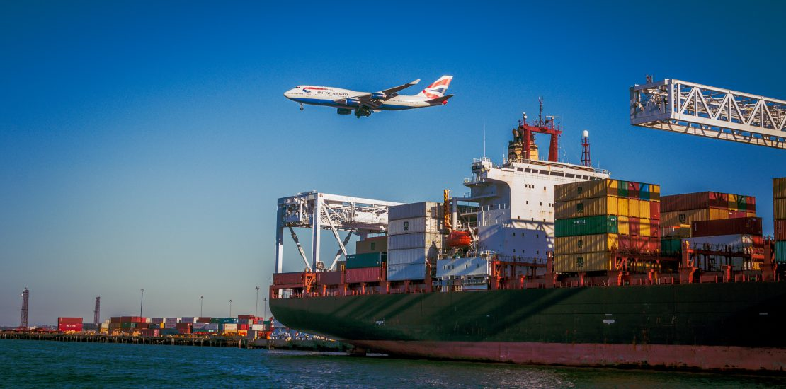 cargo ship and airplane